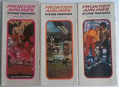 Frontier Airlines timetable lot of 3 1974 complete year [4094]
