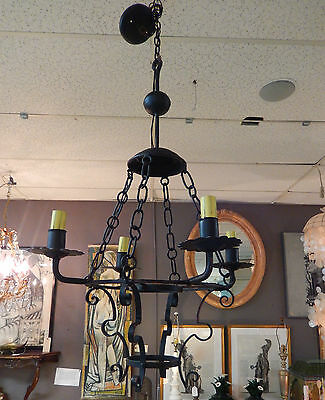 Vintage Spanish Revival Monterey Era Handwrought Iron 4 Candle Light Chandelier
