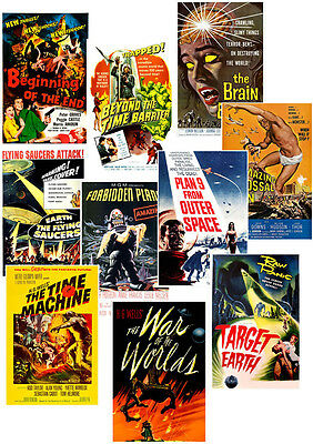 Retro Sci Fi Movie Posters Plan 9 War of Worlds Forbidden Planet Time Machine