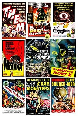 Retro Sci Fi Movie Posters THEM Mothra Ivaders From Mars Crab Monster Saucer Men