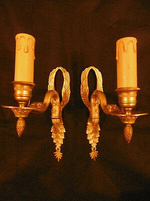 Pair Of Sconces Swans Decor, Empire Style, Era 19Th - Brionze - French Antique • CAD $194.04