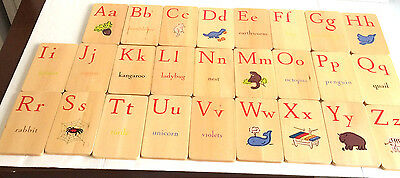 Pottery Barn Wooden Wood ABC Alphabet Cards Cute Drawings 2 Sided
