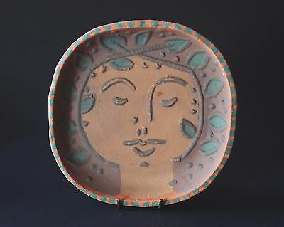 Studio Pottery Picasso Style Press Moulded Terracotta Face Dish - Signed 1981