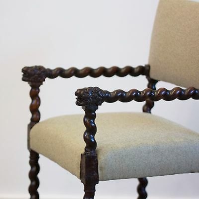 Antique 17th Century Walnut Flemish Armchair. Carved Wooden Upholstered Chair.