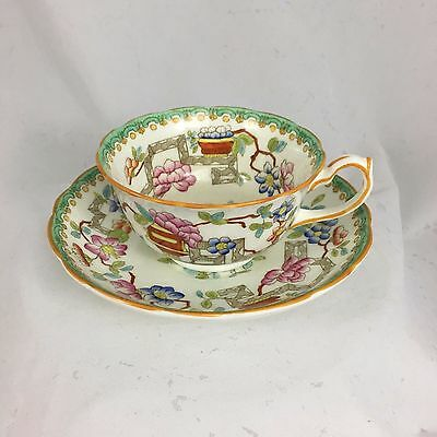 Hammersley & Co, England, Hand Painted Teacup & Saucer, Antique, Bone China, Per