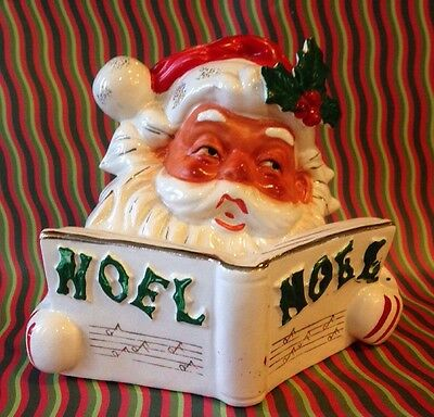 Vintage Lipper & Mann Santa Claus Ceramic Candle Holder NOEL Songbook Christmas