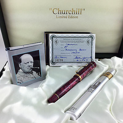 Conway Stewart Churchill Burgundy Blush LE Fountain Pen - Medium