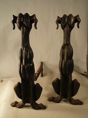 VTG Pair Cast Iron Greyhound/Dog ART DECO STYLE Firedogs Blk Andirons 17""