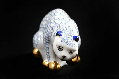 Franklin Mint Curio Cabinet HEREND Cat Collection Blue White Porcelain Gold 1988