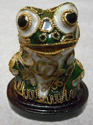 Vintage Cloisonne Frog Figure On Wood Base