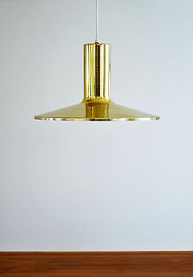 Mid Century Modern Danish Lightolier brass plated pendant hanging lamp