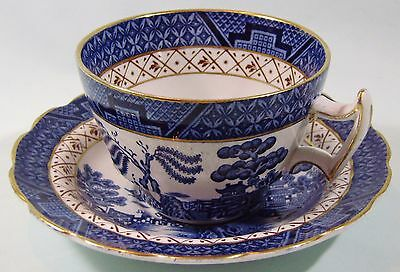 Booths Real Old Willow A8025 breakfast cup and saucer gilded / brown vgc