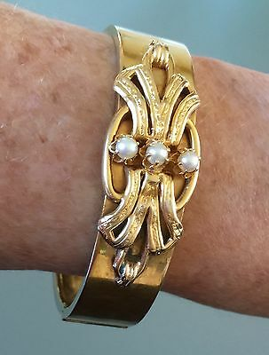 Antique Victorian 18k Yellow Gold Bow with Pearls Bangle Bracelet 21g Hallmarks