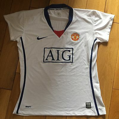 Ladies Manchester United Fitted Football Team Kit Shirt White XL MUFC ManU
