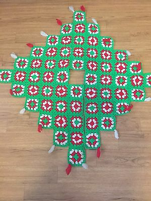 Large Vintage Hand Crocheted Christmas Tree Skirt GRANNY SQUARES