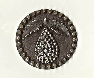 "Vintage Brass Button with Silver Wash, ""Cut-Steel"" Pear Escutcheon, 3D Leaves"