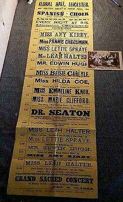 Victorian music hall play bill floral hall theatre Leicester poster