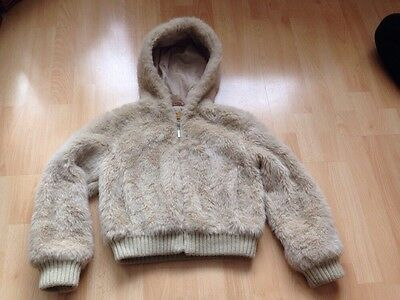 Faux Fur Beige Nude Jacket Coat Size Age 9-10 Bomber With Hood