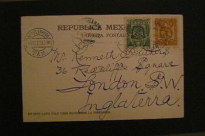 1909 from Nuevo Laredo postcard to England pictures Aqueduct at Chihahua