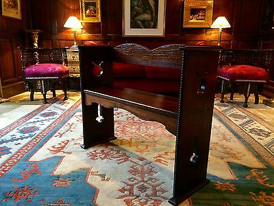 Beautiful Antique 1940's Oak Hall Settle Bench Pew Arts & Crafts