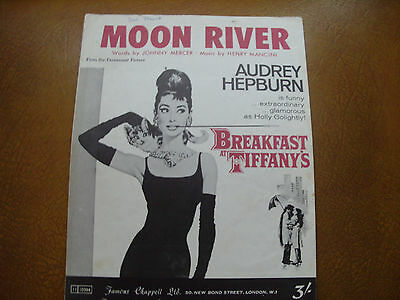 """Sheet Music. """" Moon River """". From Breakfast At Tiffany's."""