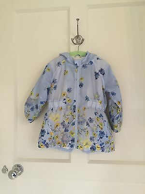 Next Girls Blue Floral Shower Jacket/Coat With Hood Age 2-3 Years