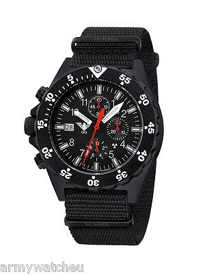 KHS Tactical Watches Germany Army Chronograph H3 Trigalight Stopwatch Date