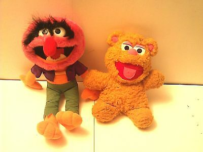 """Muppets Baby Fozzie 1987 8"""" & Animal 1991 14"""""""