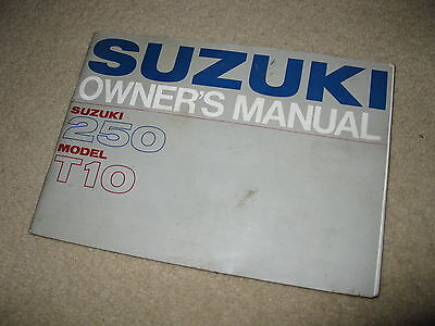 Genuine Suzuki Motorcycle Owner's Manual 250 T10
