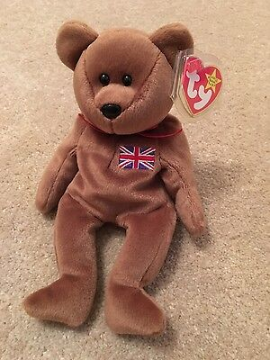Britannia the TY beanie baby bear - new with tags & tag protector
