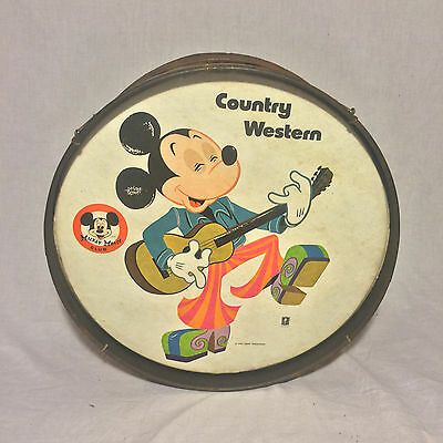 Vintage 1950s Mickey Mouse Club Premium Drum Country Western By Noble Cooley