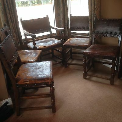 5 Antique Oak and Leather Dining Chairs Cromwellian
