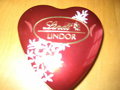 LINDT LINDOR Small Embossed Red Heart-Shaped Chocolate Tin