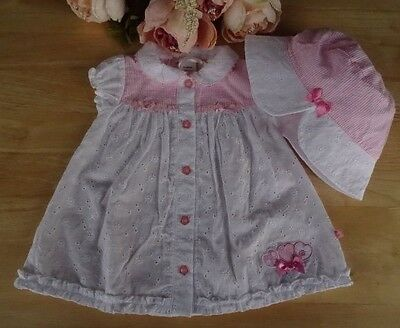 Baby Girls Traditional Embroidered Broderie Anglaise Bow Dress & Hat Set 0-3-6-9