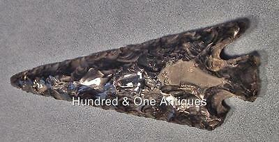 Antique Mayan Obsidian Spear Point Flint  Blade Late Classic, ca. A.D. 550-950