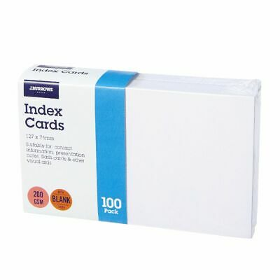 J.Burrows Index Cards Blank 127 x 76mm White 100 Pack