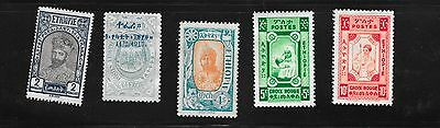 FIVE Abyssinia 1917/1919 Early Issue Mint Hinged