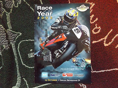 2003 Mallory Park Programme 12/10/03 - Race Of The Year - Steve Plater Cover