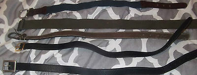 Lot Of 5 Boys Belts Size Small Leather Black Blue  Brown Stretch Canvas 22 - 24