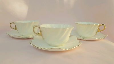 Dainty White Fine Bone China 3 Vintage Teacup and saucer duos - Antique