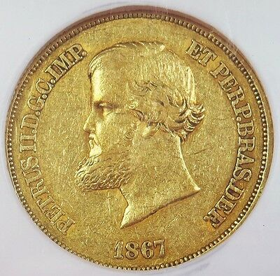 1867 Gold Brazil 10,000 Reis Pedro Ii Coin Ngc Extremely Fine 45