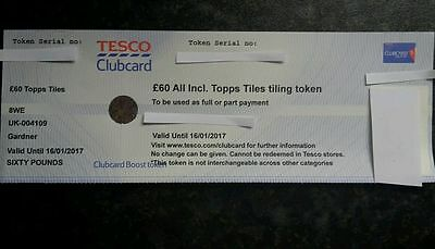 £120 TOPPS TILES Store Credit Gift Voucher Discount - Tesco Clubcard Coupon