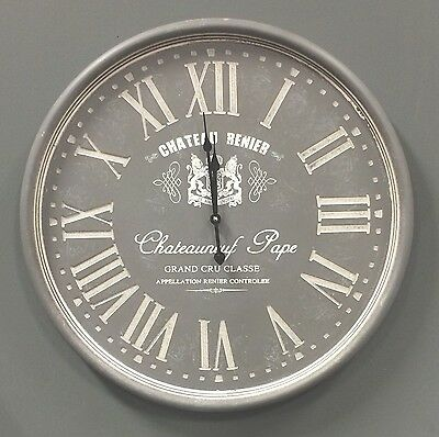 LARGE Vintage Washed Grey French Roman Numerals Wall Clock NEW 60cm Hall