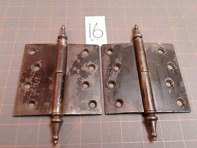 Antique Pair of STANLEY Steel DOOR HINGES Right Hand Lift Off Steeple Tips