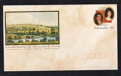 Australia Pre Stamped Envelope Bicentenary of Elizabeth Farm 1993