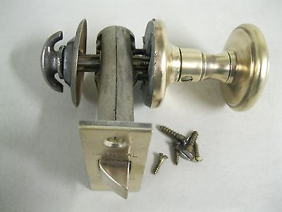 EARLY 1900's ANTIQUE NATIONAL CLOSET DOOR LOCK SET WITH BRASS KNOB~MADE IN U.S.A