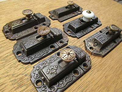 Lot Of 6 Old Assorted Cupboard Latches...ornate Detail Nice