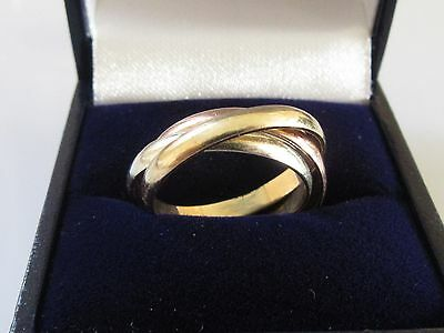 Secondhand 9Ct Gold 3 Tone Russian Wedding Band Ring Size N.