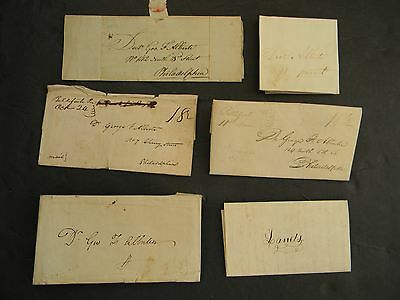 1802 - 6 ANTIQUE STAMPLESS  LETTERS TWO w PENNSYLVANIA MANUSCRIPT POSTMARKS