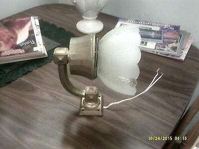 vintage antique very heavy soild brass wall mount with antique shade electric